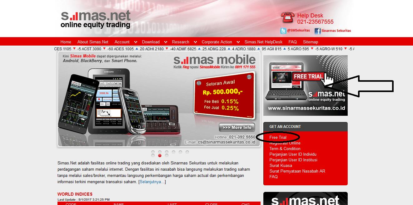 Halaman situs Sinarmas Sekuritas Simat.Net