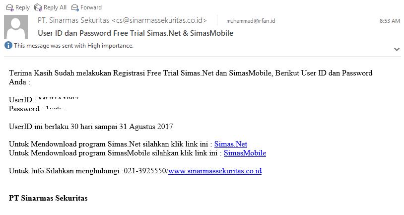 """Cara Daftar Akun """"Free Trial"""" Sinarmas Sekuritas, Mencoba Simas.Net 8"""