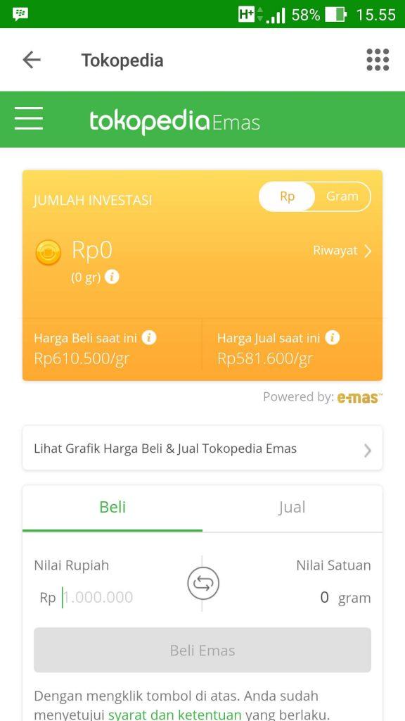 Cara Membeli Emas Melalui Tokopedia Emas, Mulai Dari Rp 500* (UPDATE: 17/1/19) 2