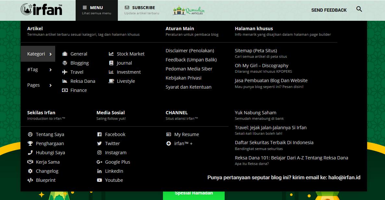 "irfan v5.4: Media Kit ""Spesial Ramadan"", Email Baru Dan Mega Menu 3"