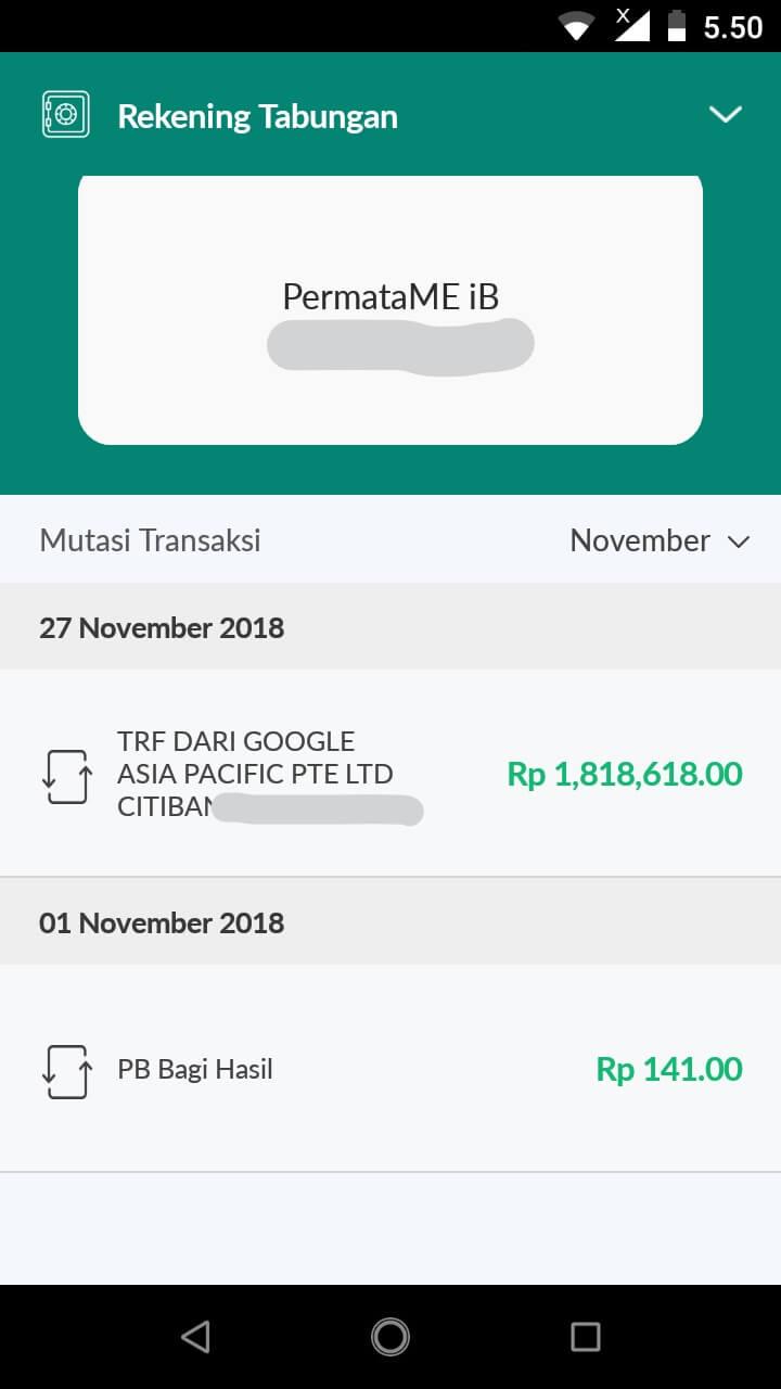 Pembayaran Google Adsense ke Bank Permata