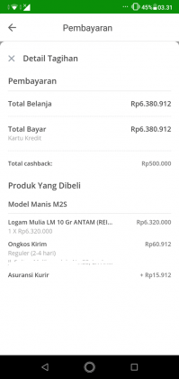 Pengalaman Beli Emas Batangan Di Tokopedia, Dapat CASHBACK Rp 500,000 4