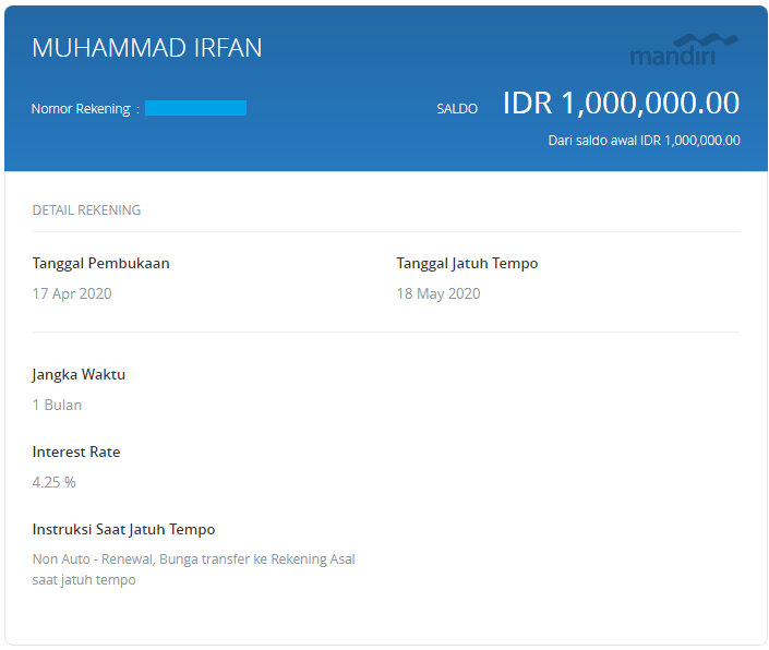 Pengalaman Deposito Bank Mandiri via Aplikasi Mandiri Online (UPDATE: 18/5/2020) 10