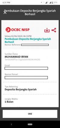 Pengalaman Deposito Syariah Rp 10 Juta di OCBC NISP via Aplikasi ONe Mobile (UPDATE: 2/8/20) 30