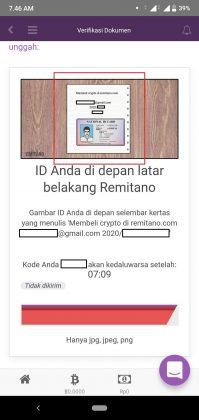 Cara verifikasi akun Remitano